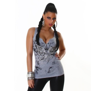 SEXY RIB KNIT STRAPPY TOP WITH ZIPPER AND METAL BEADS GREY