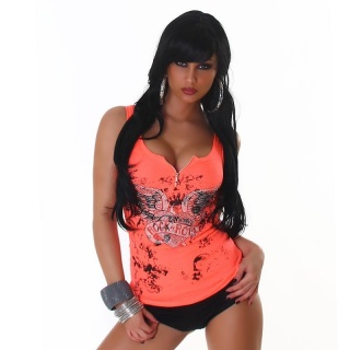 SEXY RIB KNIT STRAPPY TOP WITH ZIPPER AND METAL BEADS NEON-ORANGE