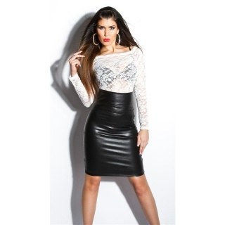 SEXY HIGH-WAISTED SKIRT MADE OF IMITATION LEATHER WET LOOK BLACK