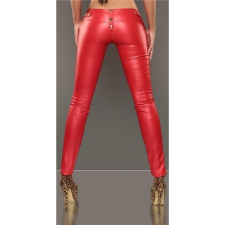 SEXY DRAINPIPE PANTS IN LEATHER-LOOK FETISH WET LOOK RED