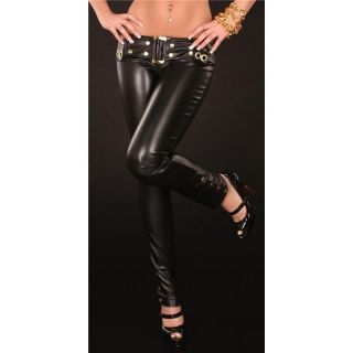 SEXY DRAINPIPE PANTS IN LEATHER-LOOK FETISH WET LOOK BLACK