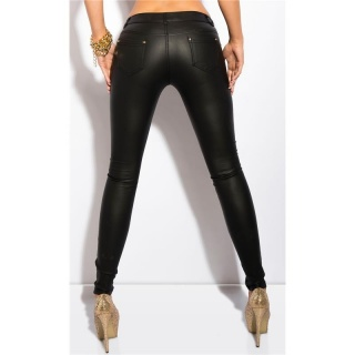 SEXY DRAINPIPE PANTS LEATHER-LOOK WITH PUSH-UP EFFECT BLACK