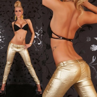 SEXY DRAINPIPE PANTS WITH GLITTER EFFECTS WET LOOK GOLD