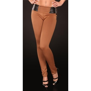 SEXY DRAINPIPE PANTS CLOTH PANTS BROWN/BLACK