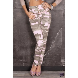 SEXY DRAINPIPE JEANS WITH HIGH WAIST ARMY CAMOUFLAGE