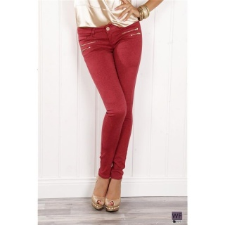 SEXY R�HRENJEANS JEANS MIT RAUBTIERMUSTER ZIPPERN ROT