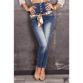 SEXY DRAINPIPE JEANS WITH HIGH WAIST BLUE WASHED
