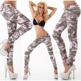SEXY DRAINPIPE JEANS WITH RIVETS ARMY-LOOK CAMOUFLAGE/PINK