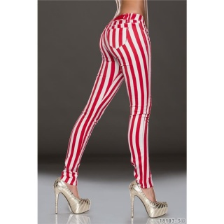 SEXY DRAINPIPE JEANS WITH STRIPED PATTERN RED/WHITE