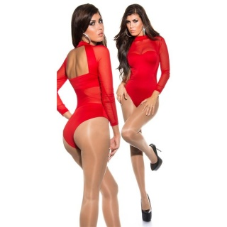 SEXY BACKLESS BODY-SHIRT TRANSPARENT WITH CHIFFON RED