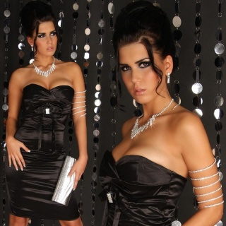 SEXY SATIN BANDEAU DRESS WITH RHINESTONES BLACK