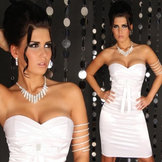 SEXY SATIN BANDEAU DRESS WITH RHINESTONES WHITE
