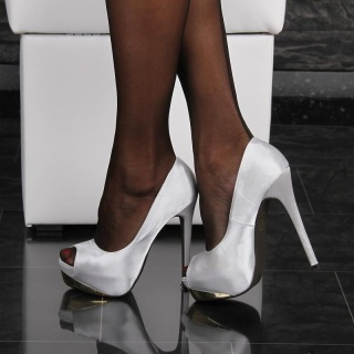 SEXY SATIN PEEP TOES HIGH HEELS PUMPS PLATFORM SHOES SILVER