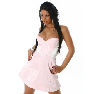 SEXY SATIN MINIDRESS PINK/CREAM
