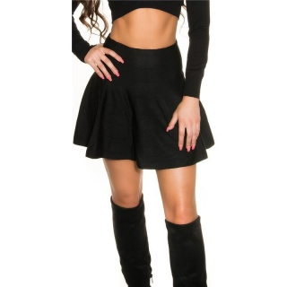 SEXY SWINGING FINE-KNITTED HIGH-WAISTED MINI SKIRT BLACK