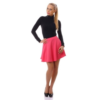 SEXY SWINGING STRETCH MINI SKIRT WITH STRUCTURAL PATTERN CORAL