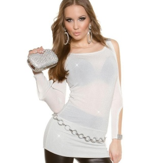 SEXY SHIRT WITH OPEN SLEEVES AND RHINESTONE-LOOK CREAM