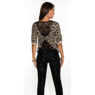 SEXY SHIRT WITH LACE AT THE BACK LEOPARD-LOOK LEO-BEIGE