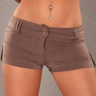 SEXY SHORTS HOTPANTS KURZE HOSE MIT UMSCHLAG CAPPUCCINO