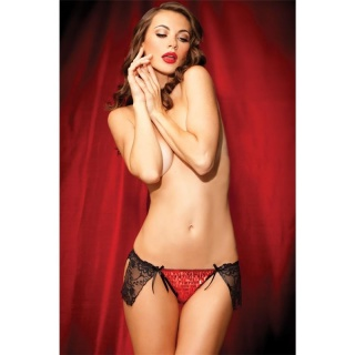 SEXY SHOWGIRL STRING THONG WITH SEQUINS AND LACE LINGERIE RED/BLACK