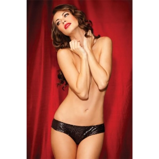 SEXY SHOWGIRL TANGA WITH SEQUINS AND LACE LINGERIE BLACK