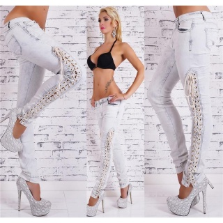SEXY SKINNY BLEACHED DRAINPIPE JEANS WITH LACING LIGHT GREY