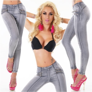 SEXY SKINNY HIGH-WAISTED DRAINPIPE STRETCH JEANS WITH ZIPS GREY