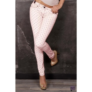 SEXY SKINNY JEANS DRAINPIPE JEANS WITH POLKA DOTS PINK/BLACK