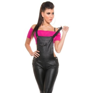 SEXY SKINNY BIB PANTS OVERALL IN LEATHER-LOOK WET LOOK BLACK