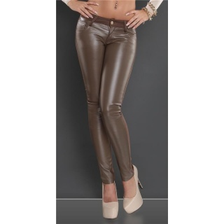 SEXY SKINNY DRAINPIPE PANTS WITH LEATHER-LOOK CAPPUCCINO