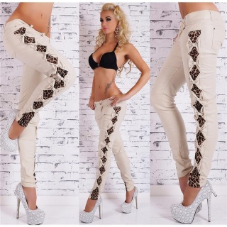SEXY SKINNY RÖHRENHOSE IN LEDER-LOOK MIT CUT-OUTS KHAKI/LEO