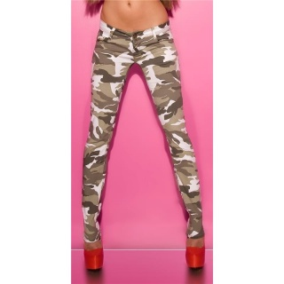 SEXY SKINNY RÖHRENJEANS IM ARMY-LOOK CAMOUFLAGE
