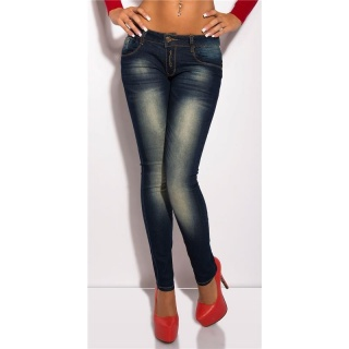 SEXY SKINNY DRAINPIPE JEANS WITH LEO-STRIPE DARK BLUE