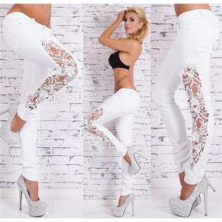 SEXY SKINNY DRAINPIPE JEANS WITH EMBROIDERY WHITE