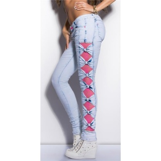 SEXY SKINNY DRAINPIPE JEANS WITH LACE BLEACHED LIGHT BLUE/FUCHSIA