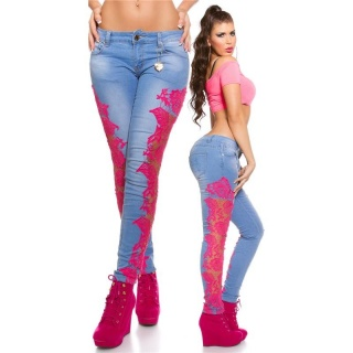 SEXY SKINNY DRAINPIPE JEANS WITH EMBROIDERY BLUE/FUCHSIA