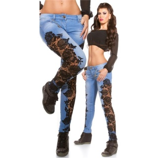SEXY SKINNY DRAINPIPE JEANS WITH EMBROIDERY BLUE/BLACK