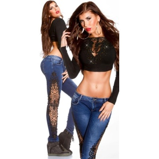 SEXY SKINNY DRAINPIPE JEANS WITH EMBROIDERY USED LOOK DARK BLUE