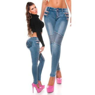 SEXY SKINNY DRAINPIPE JEANS WITH DECORATIVE STITCHING BLUE