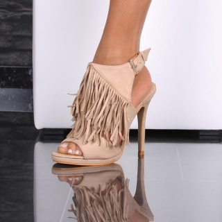 SEXY FRINGED SLING PEEP TOES HIGH HEELS SANDALS BEIGE