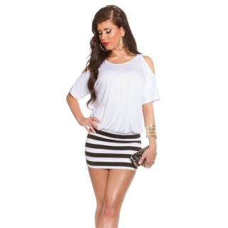 SEXY SUMMER MINIDRESS WITH STRIPES AND OPEN SLEEVES WHITE
