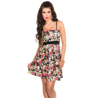SEXY SUMMER MINI DRESS WITH FLOWERS MULTICOLOUR