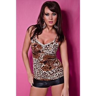 SEXY STRAPPY TOP WITH RHINESTONES LEOPARD-BROWN