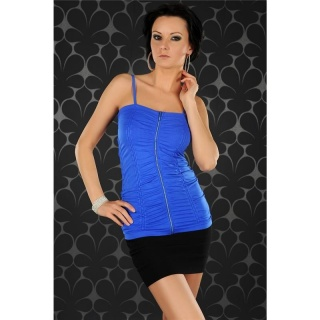 SEXY SPAGHETTI STRAP TOP LONG TOP WITH ZIPPER ROYAL BLUE