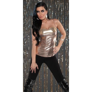 SEXY SPAGHETTI STRAP TOP WITH SEQUINS WET LOOK PARTY GOLD
