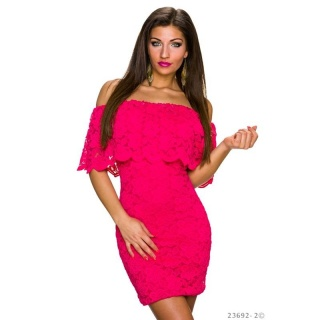 SEXY LACE MINIDRESS IN LATINA-STYLE WITH FLOUNCES FUCHSIA