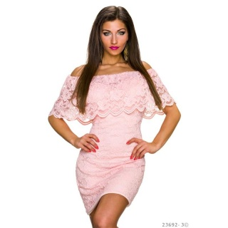 SEXY LACE MINIDRESS IN LATINA-STYLE WITH FLOUNCES PINK