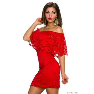 SEXY LACE MINIDRESS IN LATINA-STYLE WITH FLOUNCES RED
