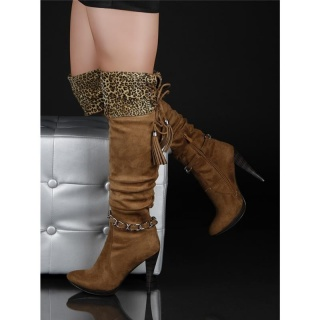 SEXY BOOTS HIGH HEELS LEOPARD-LOOK CAMEL