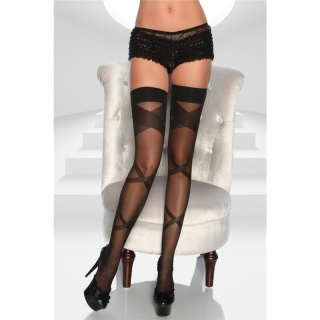 SEXY SHEER SUSPENDER STOCKINGS WITH PATTERN BLACK